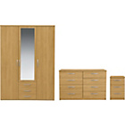 more details on New Hallingford 3 Piece 3 Dr Wardrobe Package - Oak Effect.