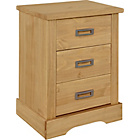 more details on Mendoza Pine 3 Drawer Bedside Chest - Oak Stain.
