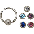more details on Stainless Steel Interchangeable Ball Closure Belly Ring/Bar