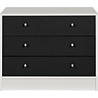more details on New Malibu 3 Drawer Wide Chest - Black on White.