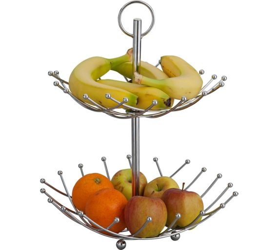 Buy home 2 tier fruit bowl silver at your online shop for food storage kitchen - Tiered fruit bowl ...