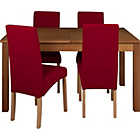 more details on Heart of House Bromfield Table and 4 Skirted Red Chairs.