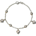 more details on Sterling Silver Simulated Pearl and Puffed Heart Bracelet.