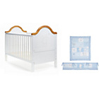 more details on Obaby B is for Bear Cot Bed, Mattress and Blue Set - White.
