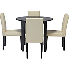 more details on Elmdon Black Circular Dining Table and 4 Cream Chairs.