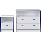 more details on Newport 2 Drawer Chest and Bedside Chest Package - Blue.