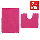 more details on ColourMatch Bath & Pedestal Mat Set - Funky Fuchsia.