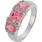 more details on Sterling Silver Pink Cubic Zirconia Square Cut Trilogy Ring.