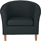 more details on ColourMatch Leather Effect Tub Chair - Jet Black.