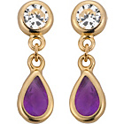 more details on 9ct Gold Amethyst Double Rubover CZ Drop Earrings.