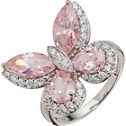 more details on Sterling Silver Pink Cubic Zirconia Large Butterfly Ring.