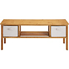 more details on TV Unit 2 Canvas Drawers - Solid Wood.