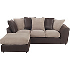 more details on Bailey Leather Effect/Jumbo Cord Regular Corner Sofa-Natural