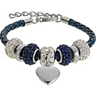 more details on Made Up Dark Blue Leather Crystal Bead Bracelet.