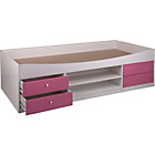 more details on Malibu Cabin Bed Frame - Pink On White.