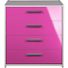 more details on Kids' New Sywell 4 Drawer Chest - White & Pink Gloss.