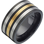 more details on Titanium Black, Silver and Gold Coloured Spinner Ring.