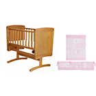more details on Obaby B is for Bear Pine Gliding Crib - Pink Bedding Set.