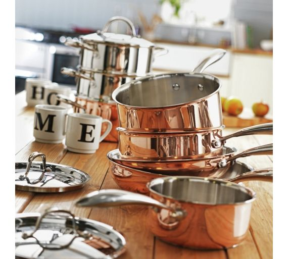 Buy heart of house 5 piece copper pan set at for Kitchen set argos