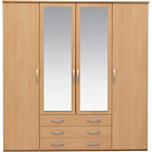 more details on New Hallingford 4 Dr 3 Drw Mirrored Wardrobe - Beech Effect.