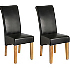 more details on Pair of Black Leather Effect Scrollback Chairs.