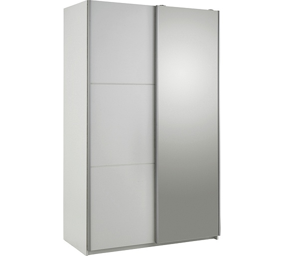 Buy hygena bergen 2 door small sliding mirrored wardrobe white at your online - Sliding door wardrobes for small spaces image ...