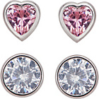 more details on Sterling Silver CZ Heart and Round Stud Earrings - Set of 2.