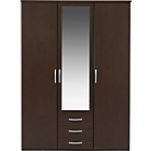 more details on New Hallingford 3 Dr 3 Drw Mirrored Wardrobe - Wenge Effect.