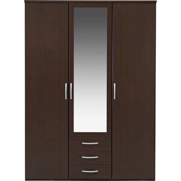 Buy Collection New Hallingford 3 Dr 3 Drw Mirror Wardrobe Wenge At Your Online