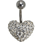 more details on Stainless Steel White Crystal Belly Bar.