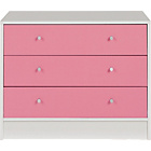 more details on New Malibu 3 Drawer Wide Chest - Pink on White.