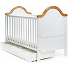 more details on Obaby B is for Bear Cot Bed/Under Drawer - White/Pine Trim.