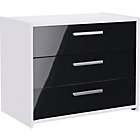more details on New Sywell 3 Drawer Chest - White and Black Gloss.