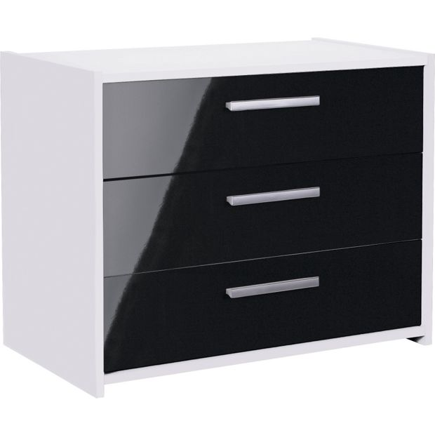 buy home new sywell 3 drawer chest white black gloss. Black Bedroom Furniture Sets. Home Design Ideas