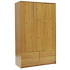 more details on New Malibu 3 Door 4 Drawer Wardrobe - Pine Effect.