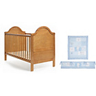 more details on Obaby B is for Bear Cot bed, Mattress and Blue Set - Pine.