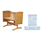 more details on Obaby B is for Bear Pine Gliding Crib - Blue Bedding Set.