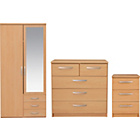 more details on New Hallingford 3 Piece 2 Dr Wardrobe Package - Beech.