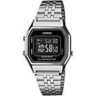 more details on Casio Mens' Silver Tone Black Dial Digital Watch.