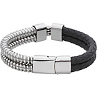 more details on Stainless Steel and Leather Double Row Bracelet.