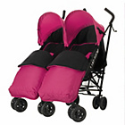 more details on Obaby Apollo Twin Stroller - Pink with Pink Footmuffs.