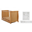 more details on Obaby Sleigh Cot Bed, Mattress and White Bedding - Pine.