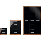 more details on New Sywell 3 Piece 3 Door Wardrobe Package-Walnut Effect/Blk