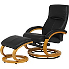 more details on Franklin Fabric Recliner Chair and Footstool - Black.