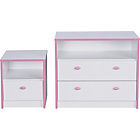 more details on Newport 2 Drawer Chest and Bedside Chest Package - Pink.