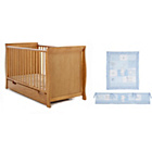 more details on Obaby Sleigh Cot Bed, Mattress and Blue Bedding - Pine.