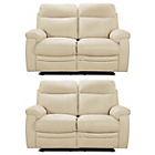 more details on Paulo 2 Regular Leather Recliner Sofas - Ivory.