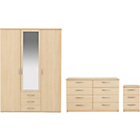 more details on New Hallingford 3 Piece 3 Dr Wardrobe Package- Light Oak.