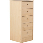 more details on New Malibu 5 Drawer Tallboy Chest - Maple Effect.