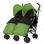 more details on Obaby Apollo Twin Stroller - Lime with Lime Footmuffs.